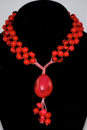 Raspberry Red Handmade Acai and Tagua Seeds Beaded Diva Necklace