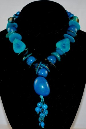 Turquoise Blue Handmade Seeds Beaded Whimsical Necklace