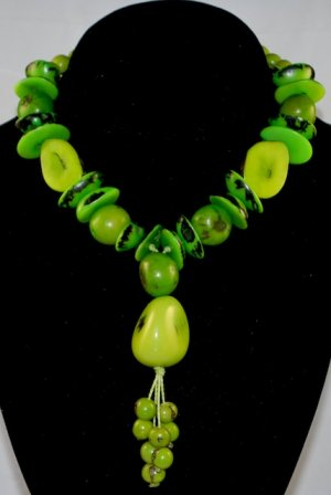 Bright Green Handmade Seeds Beaded Whimsical Necklace