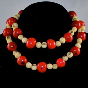 Handmade Crimson Red and Ivory Cream Seeds Beaded Necklace