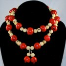 Handmade Crimson Red and Ivory Cream Beaded Necklace/Earrings Set