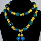Handmade Turquoise and Lemon Yellow Beaded Sassy Necklace & Earrings Set