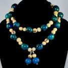 Handmade Turquoise and Ivory Cream Seeds Beaded Necklace & Earrings Sets