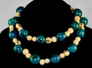 Handmade Turquoise Ivory Cream Seeds Beaded Sassy Necklace