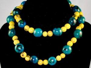 Handmade Turquoise & Lemon Yellow Beaded Fashion Necklace