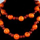 Handmade Orange Chocolate Brown Seeds Beaded Sassy Necklace