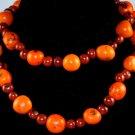 Handmade Orange Chocolate Brown Seeds Beaded Sassy Necklace