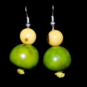 Handmade Bright Green and Lemon Yellow Beaded Earrings