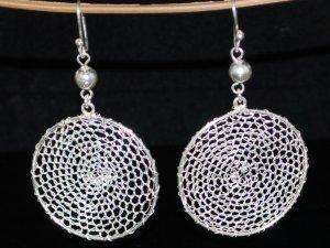 Sterling Silver Drop Filigree Gypsy Crocheted Earrings