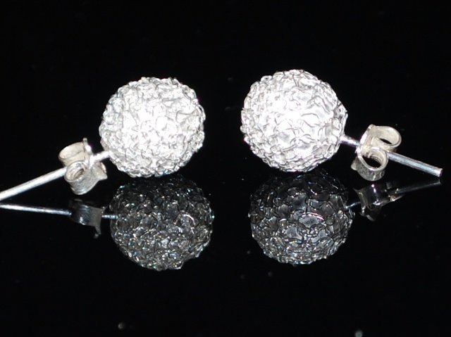 Sterling Silver Round Stud Filigree Earrings