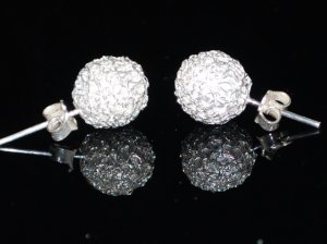 Sterling Silver Round Stud Filigree Earrings