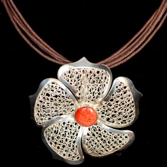 Sterling Silver Elegant Filigree Flower Necklace