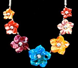 Sterling Silver Multi-Color Flower Cascade Necklace