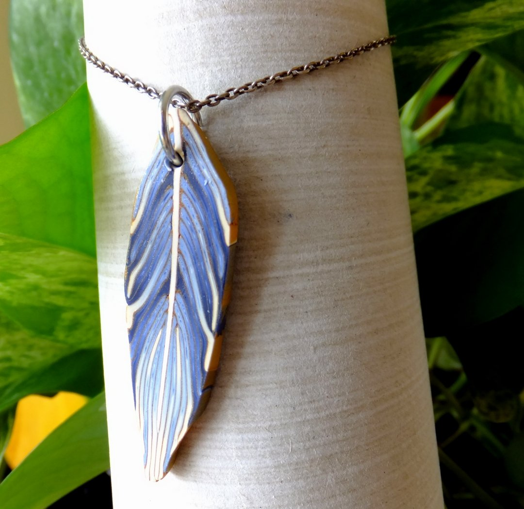 Blue Fimo Leaf Necklace