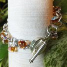 Amber Lampwork bead bracelet