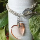 Chainmaille Byzantine Bracelet with Glass Heart