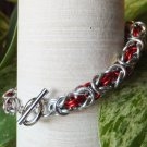 Red and Silver Byzantine Chainmaille Bracelet