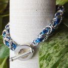 Blue and Silver Byzantine Chainmaille Bracelet