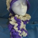Soft Lavender Handmade Cloche Flapper Hat Boa Scarf New