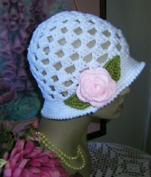 Romance and Roses White Cloche Hat with Pink Rose