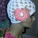 Summer Cloche Organic Cotton Beanie Skull Hat White Peach Brown