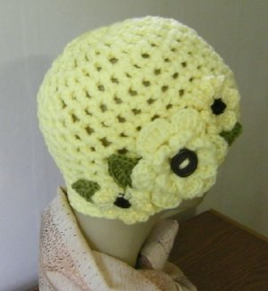 Crocheted Hat Cloche Beanie Skull Women Flower Garden