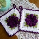 Rose Potholder Set of Two Kitchen Decor Grape