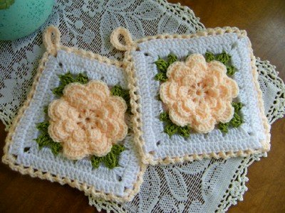 Rose Potholder Set of Two Kitchen Decor  Peach