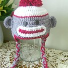 Sock Monkey Hat For Baby Handmade Warm Wool