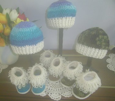 Hat Bootie Set Crochet Beanie Hat Baby Boys Hats Boys Clothing Gift Ideas Winter Hat