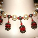 #NE423 - Pearl drop Necklace and Earring Set