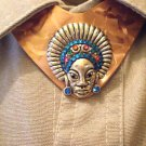 #MA004 - African Mask Metal Ascott Button Cover for Men