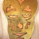 #P004 - Art Deco Brass and Copper Mask Pin