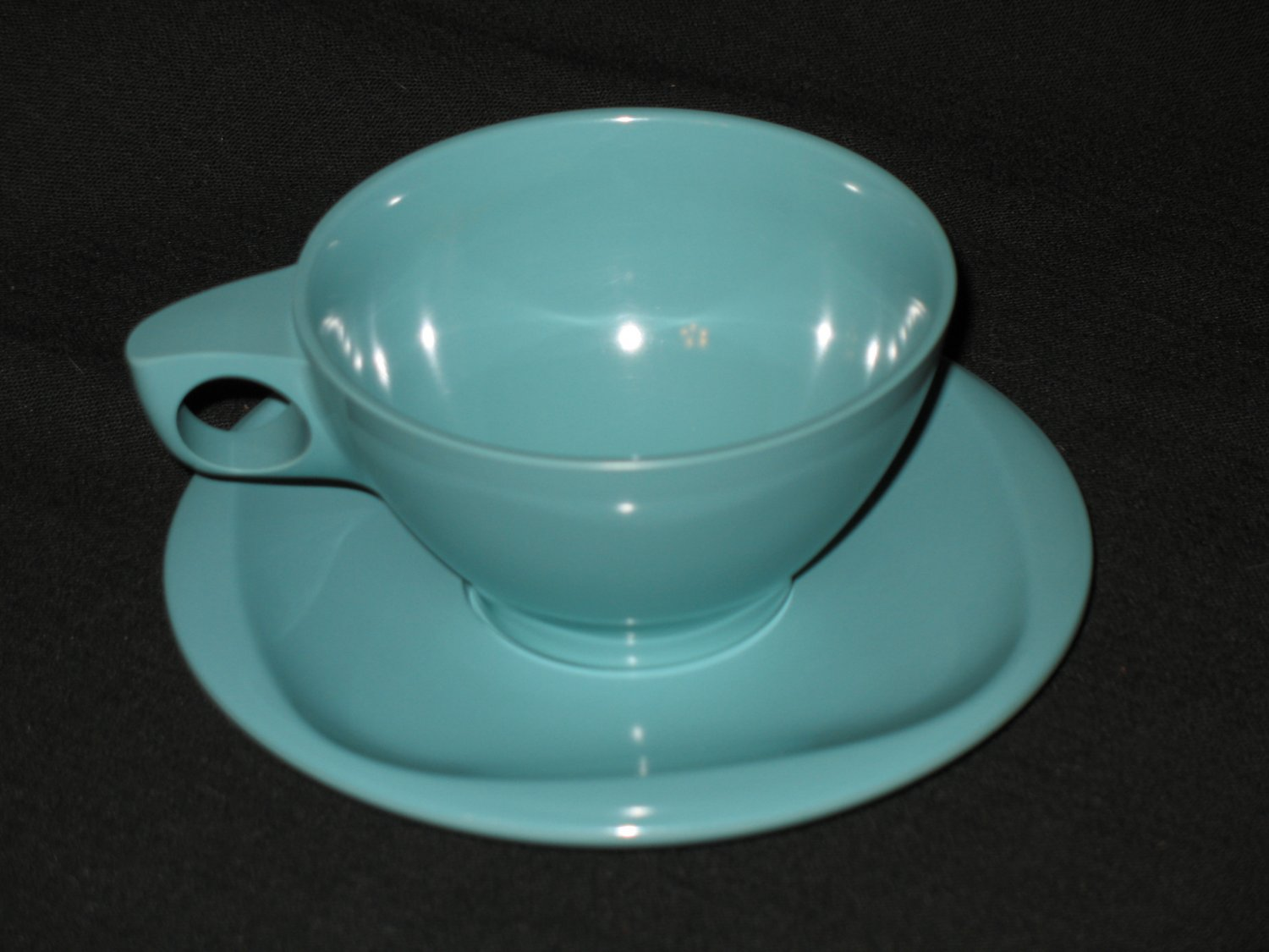Boonton Ware  Cup and Saucer Set Turquoise