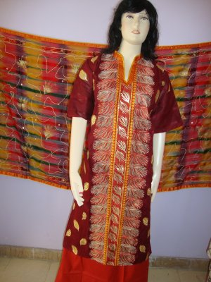 PAKAPPAREL :  Unstitched Cotton With Shiffon Golden Paint Dubatta Salwar Shalwar Kameez B10-48