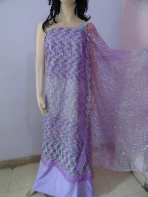 PAKAPPAREL : Embroidered Tissue/Net Salwar Shalwar Kameez- C10-167-2