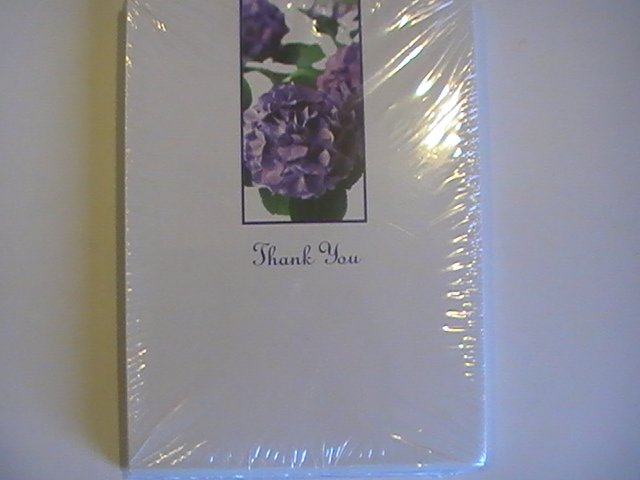 American Greetings Purple Flowers Thank You Note Cards