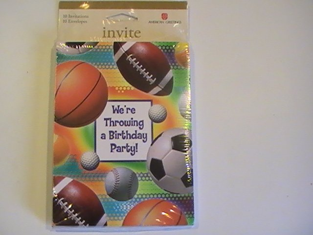 Amer. Greetings Sports Birthday Party Invitation Cards