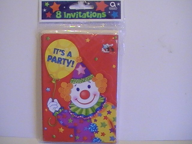 Cute Clown Birthday Party Invitation Cards & Loot Bags
