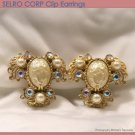 SELRO Baroque Clip Earrings Gold Tone Faux Pearl Rhinestone Filigree Fashion Jewelry 50s