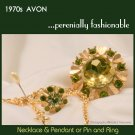Vintge 70s AVON Pendant / Pin & Ring Set — Green Rhinestone Goldtone Necklace Fashion Jewelry
