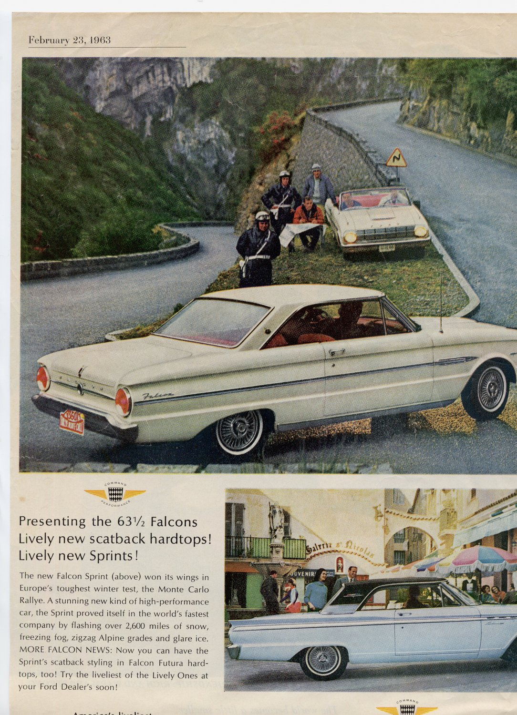 Vintage 60s Original 1963 Car Advert Scatback Hardtop Ford Falcon Sprint Fairlane Sports Coupe