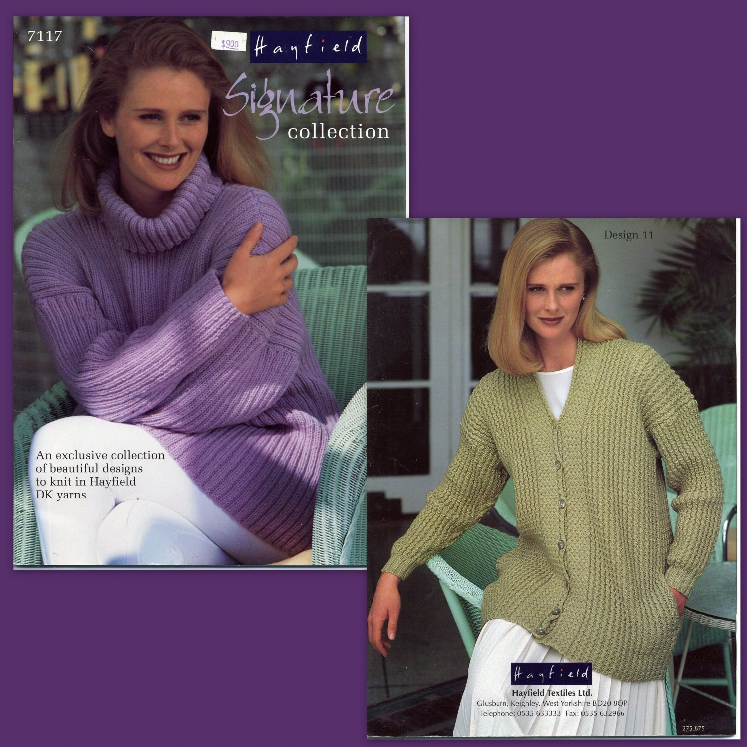 Hayfield Signature Collection DK Knitting Patterns Women's Sweaters Cardigans Twin Sets Vintage 80s