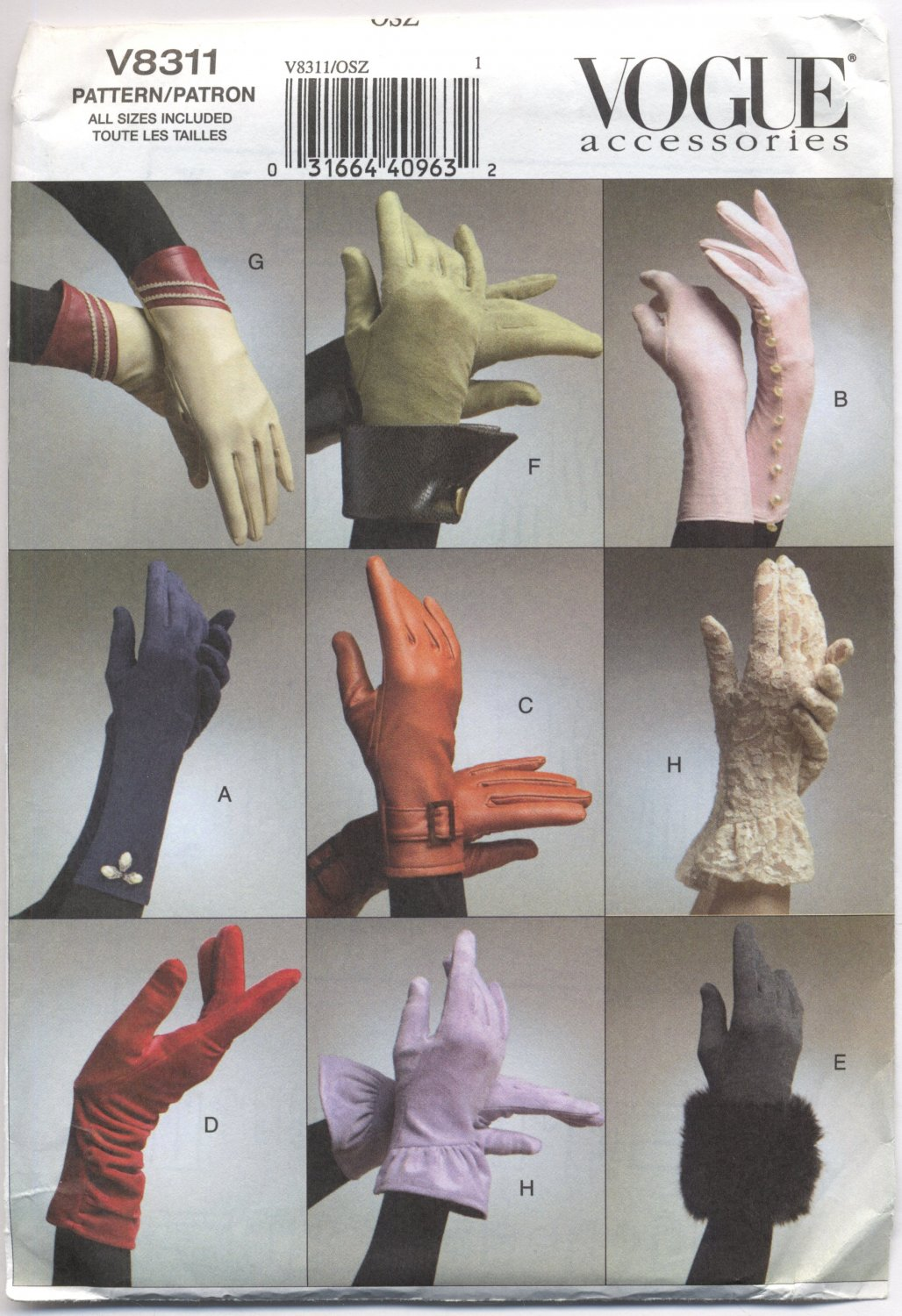 Vogue 8311 Gloves Small Medium Large Accessories Sewing Pattern Chic Gauntlet Formal Casual