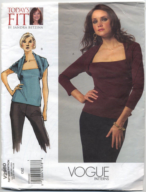 "Vogue 2980 Tops Sandra Betzina Sewing Pattern Misses' OSZ: A-J Bust 32""-55"" Office Evening Knits"