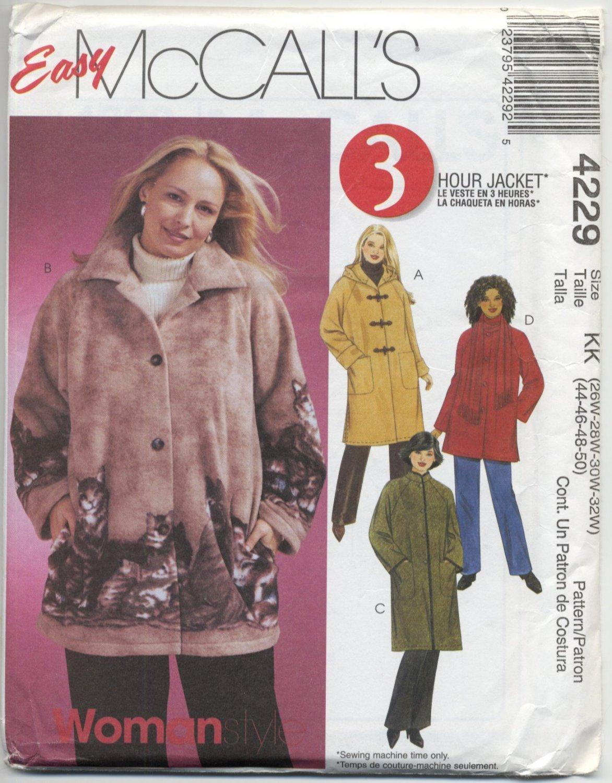 McCall's 4229 Unlined Jacket & Scarf Sewing Pattern Women's 26W 28W 30W 32W Raglan Sleeves Hood