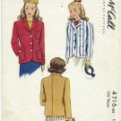 "McCall 4716 Girl's Blazer Printed Sewing Pattern Size 14 Chest 32"" Prep School Basics Church"
