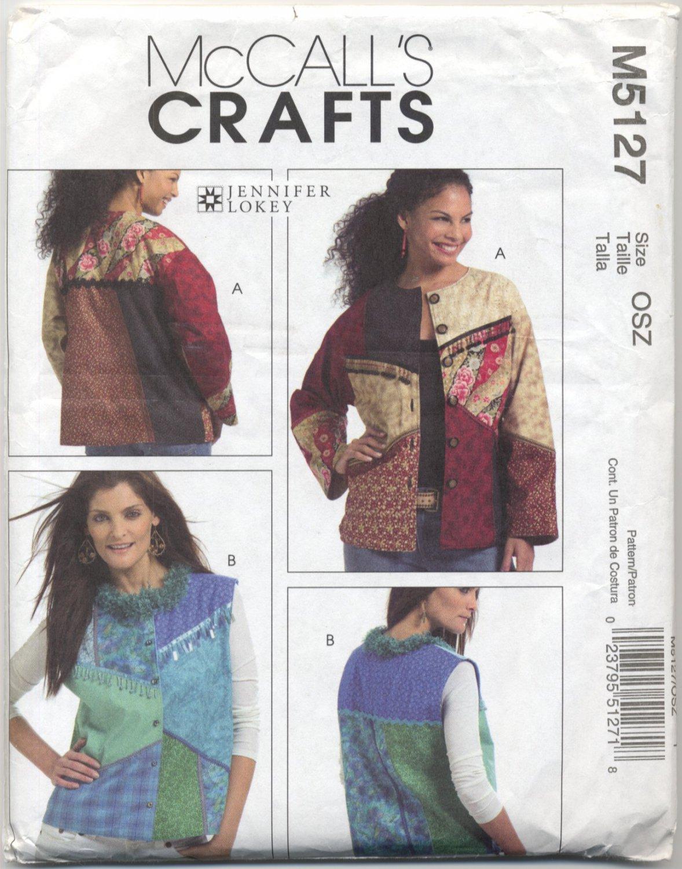 McCall's 5127 Lined Jacket & Vest Jennifer Lokey Sewing Pattern Misses' 6 8 10 12 14 16 18 20 22