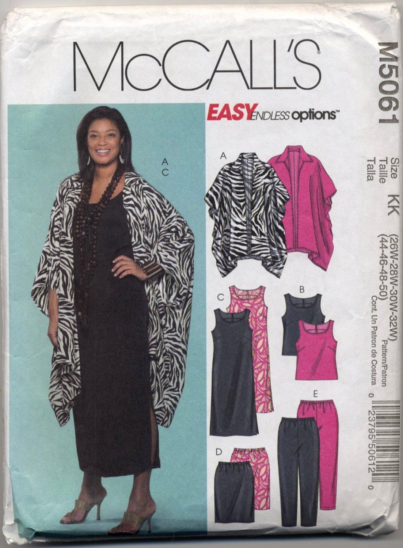 McCall's 5061 Unlined Jacket Top Dress Skirt Pants Easy Sewing Pattern Women's 26W 28W 30W 32W