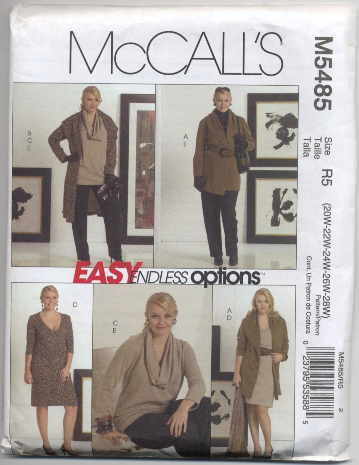 McCall's 5485 Wardrobe Sewing Pattern for Knits Women's 20W 22W 24W 26W 28W
